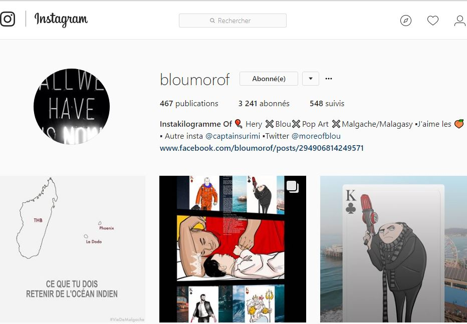 Compte instagram de bloumorof